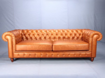 Диван - 9119BS  Chesterfield three-seats sofa , Brother Home ,  Кожа  , Классический  стиль